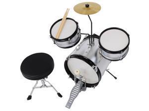 3pcs Junior Kid Children Drum Set Kit Sticks Throne Cymbal Bass Snare Boy Silver
