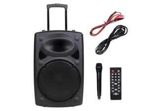 1200W Portable Active PA Speaker Mic Guitar AMP Bluetooth USB SD LCD FM Remote