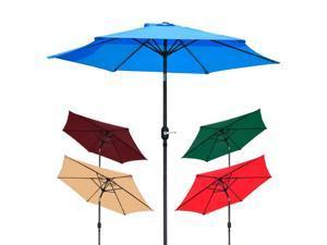 8' Aluminum Outdoor Patio Umbrella w/ Crank Tilt Deck Market Yard Beach Pool Cafe