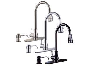 """18"""" Pull Out Down Kitchen Sink Faucet Spray Swivel Soap Dispenser Brushed Nickel"""