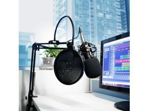 Studio Microphone Mic Wind Screen Pop Filter Mask Shield Mount Gooseneck