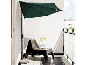 10' Green Half Patio Aluminum Umbrella for Wall Window Outdoor Garden Sun Shading