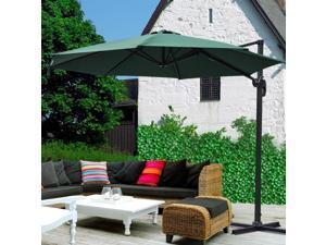 "10"" Patio Hanging Cantilever Roma Offset Umbrella Outdoor Market Sun Shade Crank Canopy"