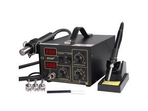 2in1 SMD Rework Station Soldering Hot Air & Iron 852D+ 5Tips ESD PLCC BGA