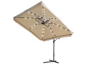 9x9' 40 LED Light Patio Offset Umbrella Hanging Outdoor Gazebo Cantilever Canopy