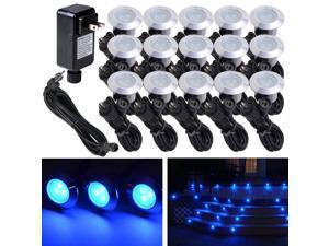 15pcs Deck Light LED Bulbs Landscape Garden Stair Yard Blue Lamp W/ Transformer