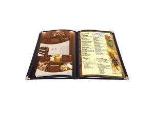 """20 Menu Cover 8.5x11"""" 4 Page 8 View Restaurant Deli Cafe Black Fold Clear Volume"""