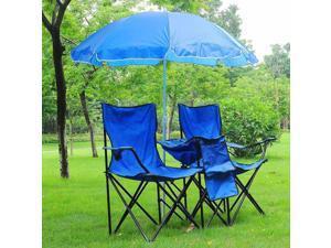 Double Folding Chair w/ Umbrella Table Cooler Fold Up Picnic Camping Beach Garden