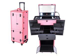 Rolling Makeup Case Pro Hair Stylist Barber Artists Case Multifunction Lighted Lockable