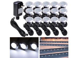 15pcs LED Deck Light Garden Stair Yard Landscape Cool White Lamp W/ Transformer
