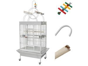 Pet Bird Large Parrot Cage Play Top Flight Finch Macaws Supply Aviary House w/ Free Toy