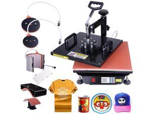 15x15 5in1 Heat Press Transfer Machine Digital Sublimation T-Shirt Mug Hat Plate Cap w/ Gloves