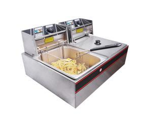 12L 5000W Stainless Steel Electric Countertop Deep Fryer Dual Tank Basket for Commercial Restaurant
