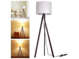 """57.2"""" Tripod Floor Lamp Cotton Fabric Lampshade w/ Black Walnut Wood Color Oak Stand Room Cafe"""