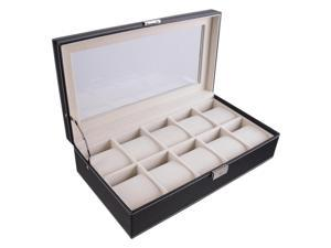 XXL 10 Slots Display Leather Box Case Glass Top Storage Organizer Fit Wristwatch Dial up to 2-1/2""