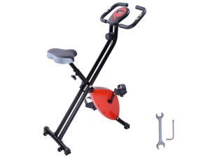 Indoor Folding Magnetic Upright Exercise Bike Gym Cycling LCD Display Cardio Stationary Red