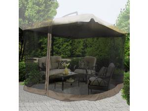 9Ft Umbrella Mosquito Net Outdoor Patio Mesh Screen Anti Insect Fly Tent Chocolate Chip Edge Netting