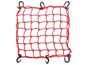 "15""x15"" Cargo Net w/ 6 Adjustable Hook Stretch to 30""x30"" Latex Bungee Material for Motorcycle Red"