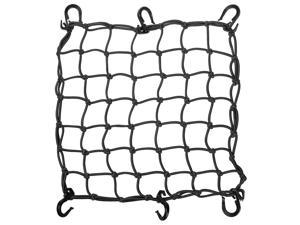 "15""x15"" Cargo Net w/ 6 Adjustable Hook Stretch to 30""x30"" Latex Bungee Material Motorcycle Black"