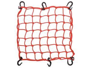 "15""x15"" Cargo Net w/ 6 Adjustable Hook Stretch to 30""x30"" Latex Bungee Material Motorcycle Orange"