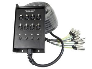 12-Channel Snake & 8 XLR x 4 TRS Stage Box - 50 feet