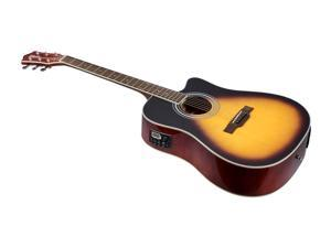Monoprice Idyllwild Foothill Acoustic Electric Guitar with Tuner, Pickup, and Gig Bag, Vintage Sunburst