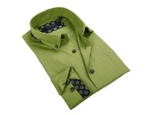 Coogi Luxe Men's Apple Green Button-down Shirt 100% Cotton