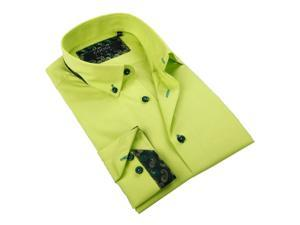 Coogi Luxe Mens Lime Green Button-down Shirt 100% Cotton