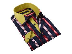Coogi Luxe Men's Navy/ Red Plaid Button Down Fashion Shirt with Yellow Trim 100% Cotton