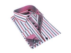 Coogi Luxe Men's Black Red/ White Striped Button Down Dress Shirt 100% Cotton
