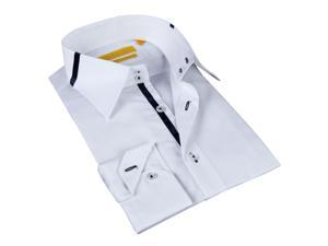 BriO Milano Men's White and Navy Button-down Dress Shirt 100% Cotton