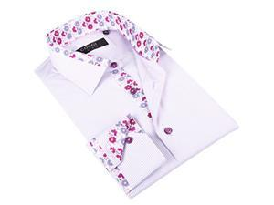 Coogi Men's Light Purple Striped Dress Shirt with Floral Print in Collar 100% Cotton