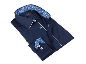 Coogi Men's Solid Navy Shirt with Floral Design in Collar 100% Cotton