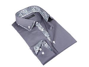 Coogi Men's Light Grey Solid Shirt with Paisley Design 100% Cotton