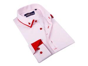 Brio Milano Men's Pink Pink/ White Mini Chekered Button Down Fashion Shirt 100% Cotton