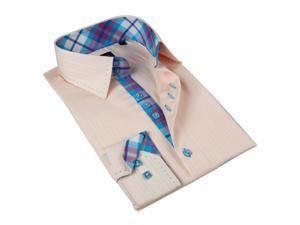 Domani Blue Label  Men's Button Down Dress Shirt 100% Superfine Cotton