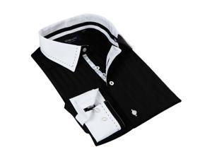 Domani Blue Luxe Men's Black/ White Trim Button-down Dress Shirt