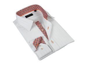 Domani Blue Luxe Men's White Button-down Dress Shirt 100% Cotton