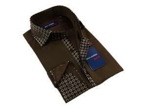 Max Lauren Men's Brown Button Down Fashion Shirt 100% Premium Cotton
