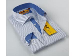 BriO Milano Men's Striped Blue/ White Button Down Dress Shirt (Small)