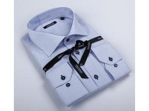 Georges Rech Men's Blue/ White Striped Button-down Dress Shirt