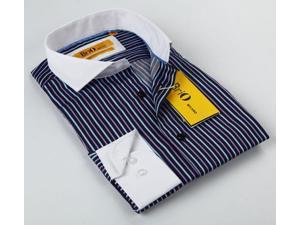 BriO Milano Men's Navy and Purple Striped Button-down Shirt