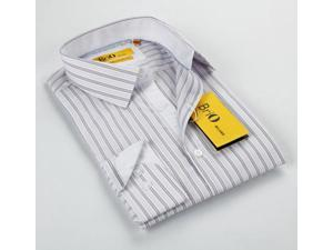 BriO Milano Men's White/ Grey Striped Floral Collar Button Down Dress Shirt