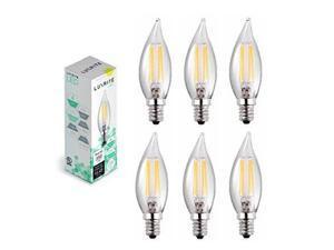 Luxrite LR21200 (6-Pack) LED Filament Candelabra Light Bulb, 4-Watt Equivalent To 40w Incandescent, Warm White 350 Lumens 2700K, 15,000 Hour Life, E12 Base UL-Listed