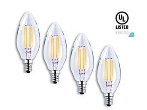 Luxrite LR21202 (4-Pack) LED Filament Candelabra Light Bulb, 4-Watt Equivalent To 40w Incandescent, Warm White 350 Lumens 2700K, 15,000 Hour Life, E12 Base UL-Listed