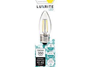 Luxrite LR21207 (10-Pack) LED Filament Candelabra Light Bulb, 4-Watt Equivalent To 40w Incandescent, Warm White 350 Lumens 2700K, 15,000 Hour Life, E26 Base UL-Listed