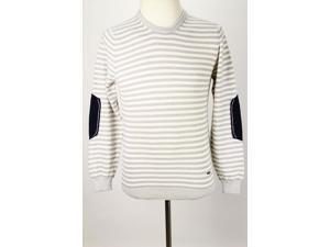 Refrigiwear Mens Crewneck Sweater Size L US Regular Striped Ivory Wool