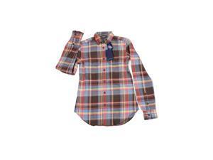 Ralph Lauren Long Sleeve Womens Plaid Button Down Shirt Size 8 Regular Brown