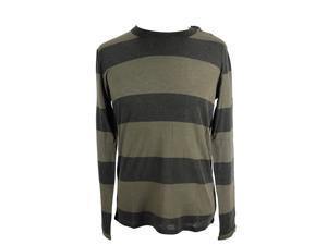 Majestic Mens Crewneck Sweater Size S US Regular Striped Green Wool