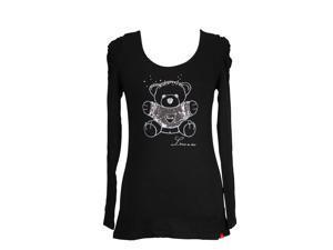 Trudi Long Sleeve Womens Blouse Size L US Regular Black Viscose